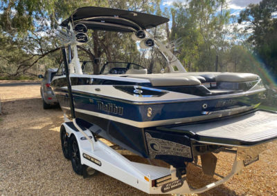 Detailing of luxury wake boat a 21ft Malibu Malibu 2014 Wakesetter VLX which includes an interior detail plus cut and polish of the hull and deck.